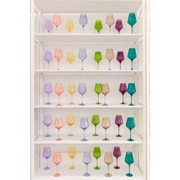 Estelle Colored Stemware Wine - Soft Pastels & Jewel Tones