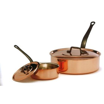 Solid copper saute pans