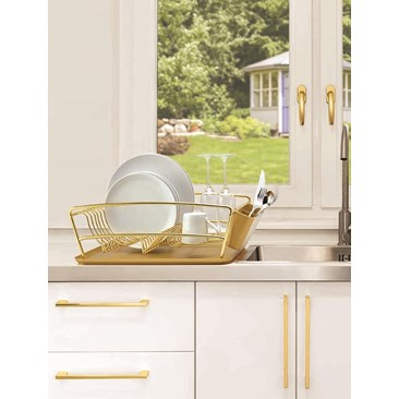 3-Piece Gold Dish Rack Set