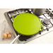 Functions as a splatter guard for skillets and woks (they have feet to hold them in place), a strainer, and even a pizza baking sheet. Nonstick FDA-grade stain and odor resistant silicone is oven safe up to 450° F. Metal-reinforced rim and handles. 10-inch and 12-inch. Red, Green, Black and Purple.
