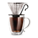 Delicious coffee brewed directly in your mug in 3 minutes. Double lined stainless steel filter. Heat resistant borosilicate glass cone. Universal holder fits most mugs. Dishwasher Safe.