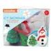 Kit Includes: Measuring Spoons, Christmas Tree Timer, Three Cookie Cutters, Snowman Silicone Cake Mold and Recipe.Packaged in a suitcase style box measuring 8