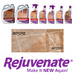 Rejuvenate Floor Care:  Clean, restore and shine your floors with Rejuvenate floor cleaners restorers.  Rejuvenate's complete floor care system can be safely used to restore and maintain all types of hard surfaced floors including Hardwood, Laminate,  Slate, Cement, Ceramic Tile, Terrazzo,  Terracotta, Marble, Travertine, Flagstone, Vinyl, Linoleum, Cork, and No Wax Floors.  Only one applications is needed.  Make your floors new again with Rejuvenate!