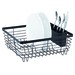 Small Dish Drainer. Steel Construction Powder Coating Oil Bronze With Detachable Silverware Holder. 12