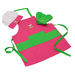 Curious Chef 4PC Pink/Green Apron Set