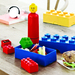 LEGO lunch will let your children bring that familiar LEGO feeling to school. It consist of a lunch box, which looks like an oversized LEGO® brick, matched with smaller insertable boxes and a drinking bottle with a minifigure head as a lid.