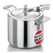 For hotels, restaurants, caterers, large families. 3 models, 14, 18 & 22 Litre. Extra-strong handles. 18/22 L have 2 lifting handles & extra safety valve.  Gas savings of 46-57% in cooking trials of 15-16 kg tur dal, chana & mutton – cooked in 29-48 min., serves 50-100.