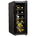 The Koolatron 12 Bottle Slim Countertop Wine Cooler fits in many places most other wine coolers won°t. This compact wine cellar measures just over 11 inches wide, but it still manages to hold up to 12 bottles of wine in perfect conditions. This cooler uses a thermoelectric cooling unit, which limits vibrations that can disturb the sediment in your fine wines. This unit also features an adjustable thermostat to keep you bottles at the perfect temperature and ready to pour. The slide-out chrome shelves cradle each bottle with care, and the stylish pro-style handle and thermopane reversible glass door make it easy to access one or many bottles at any time.
