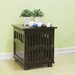 Decorative Dog Crate, End Table style. With carving. Espresso Color