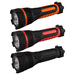 2AA Rubber Flashlight  W/3LED                                                                         This rubber coated 2AA cell flashlight  is shock resistant and water resistant.  The LED Rubber Flashlight  features a sealed push button switch for ease of use. Red, Orange, Black, 3 A hand strap is available for your choice.                                                                                             Light Source: 3 LED                                                                              Battery: 2AA                                                                                   Brightness:30 lumen                                  Dimension:50(D)x35(d)x165(L) )mm                             Material:Rubber Firm Grip Body