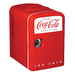 The Coca-Cola Personal Cooler looks like a small refrigerator and is perfect for any space. This Coca Cola Personal Fridge holds up to six 12 oz. cans and has a special compact design.  The Coca Cola Personal Cooler can be powered by a vehicle's 12V DC system, or plugged into any 110V AC outlet in your home or office. It is able to cool food and drinks to 32° F below ambient temperature using a solid state thermoelectric module.