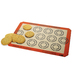 The SILPAT® Perfect Cookie Mat makes perfectly uniform and perfectly spaced cookies every time. The inner circle is the guide for the size of your dough and the outer circle represents the size of the final baked cookie. Cookies bake evenly and slide right off the pan without using oils or parchment paper.