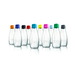 Retap glass drinking bottles with 10 color lids