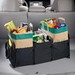 Expandable tote fits into trunks and cargo areas to keep groceries chilled and bags from tipping. Center insulated storage compartment and 2 side compartments for grocery bags. Can be sized up or down and folds down flat when not in use.
