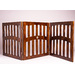 3 panels Dog Gate, with dual hinges, and a ceramic paw disk. Solid Wood made, Espresso Color,