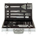 This 30 Piece Tool Set Includes: 4 Stainless Steel Steak Knives, 4-in-1 Spatula, Fork, Tongs, Basting Brush, Knife, 12 Corn Holders, 6 Skewers, Grill Brush & 2 Replacement Brush Heads.  The set is mirror polished for a sleek and modern look! Comes with a  Lifetime Warranty.