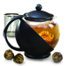 Made of stain-resistant, durable borosilicate glass, the 40 oz. teapot contains a secure handle and rounded spout, perfectly crafted for pouring up to five cups of hot tea. Includes three flowering teas and easy brewing instructions. Dishwasher safe.