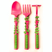 New in 2011, our Garden Rake Fork, Garden Shovel Spoon and Garden Hoe Pusher feature our three Garden fairies.  Each utensil is decorated with traditional garden plants in which the fairies live.  Dishwasher safe and Made in the USA.